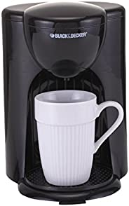 Black+Decker 330W Coffee Maker, One Cup Coffee Machine for Drip Coffee and Espresso with Coffee Mug, DCM25, Bl