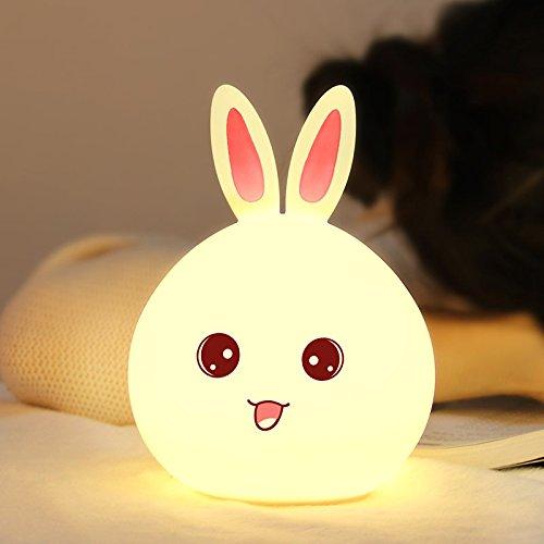 elegantstunning Nettes Häschen Kaninchen Baby Kinderzimmer Lampen Hahn Steuerung 7 Farben Atemlicht für Kinder USB nachladbares Silikon LED - Gesichts-licht-schalter