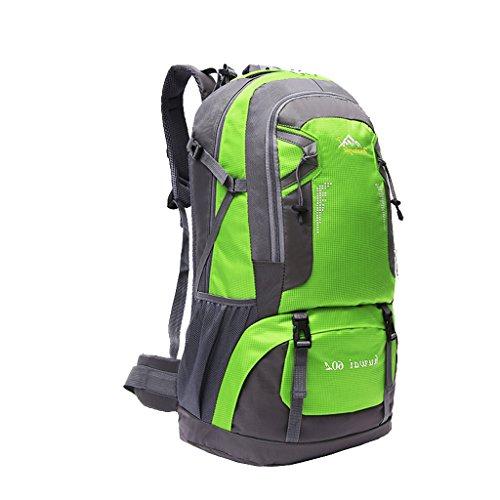 Impermeabile Borsa Zaino Esterno Dello Zaino Di Corsa Di Sport Trekking Escursionismo, 60L - Arancione Verde