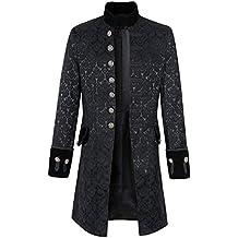 Punk Jacke Steampunk Gothic Langarm Jacke Retro Mittellang Mantel Kostüm Cosplay Uniform für Männer