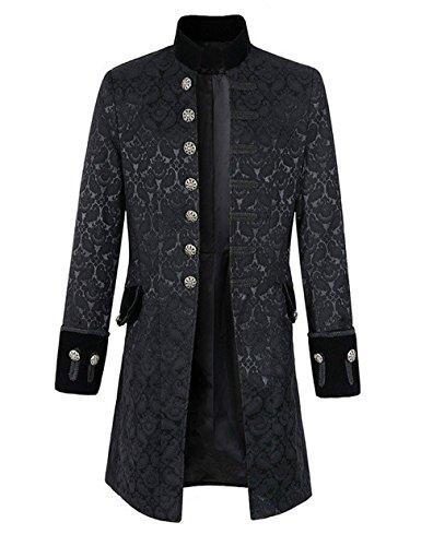Steampunk Gothic Langarm Jacke Retro Mittellang Mantel Kostüm Cosplay Uniform für Männer (Coole Vampir Männer Kostüme)