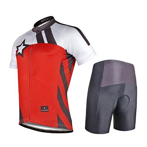 XY-QXZB Bike Cycling Jersey Reißverschluss Oberseiten mit Shorts Polyester Wasserdicht Quick Dry Frauen Männer Unisex Short Sleeve Short Hosen-Anzug Fahrrad-Kleidung Set Rot, m
