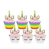 Tumao 24 pcs Licorne Cupcake Topper Décoration et Papier Cupcake Wrappers, Facile à Utiliser et DIY Cupcakes Combinaison,Licorne Thématique Fête d\'Anniversaire et Fêter