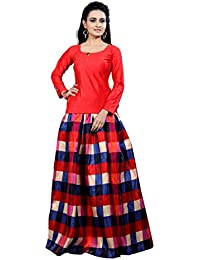 fashionable_village Women's bangalori satin Long Skirt Gown And Top (red_01_red_ Free Size)