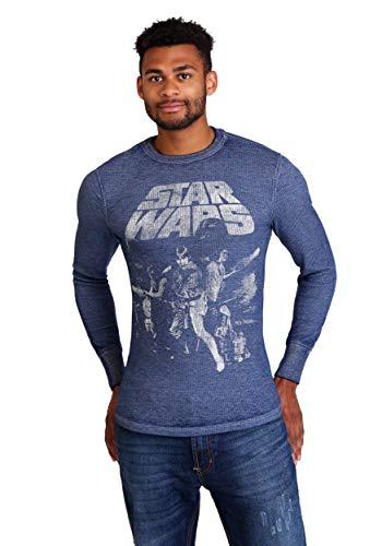 Burnout-thermal Shirt (Star Wars Men's Thermal Blue (X-Large 46/48))