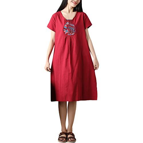Mitte Der Wade Kleid (Amoyl Leinenkleid Damen Sommer Grosse GröSsen,Frauen Sommer Retro Stickerei Baumwolle Leinen Kurzarm Mitte Der Wade Casual Dress)