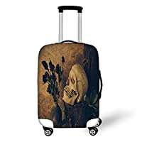 Travel Luggage Cover Suitcase Protector,Gothic,Human Skull with Dead Dried Roses in The Vase Grunge Style Bourgeois Life Culture,Beige Black,for Travel,S