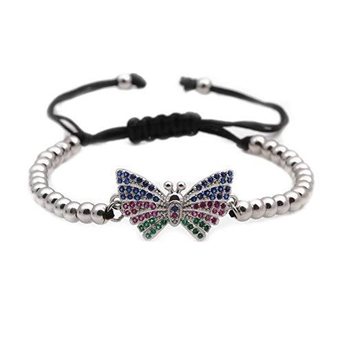 YIYIYYA Armband Damenmode Wilde Persönlichkeit Mikro-Intarsien Zirkon Schmetterling Einstellbar Koreanische Bogen Zeichnen Armband Weißen Schmuck -