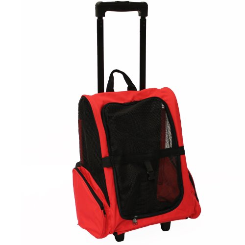 Mool Pet Carrier Backpack with Integrated Trolley and Telescopic Handle, 36 x 36x49 cm, Red
