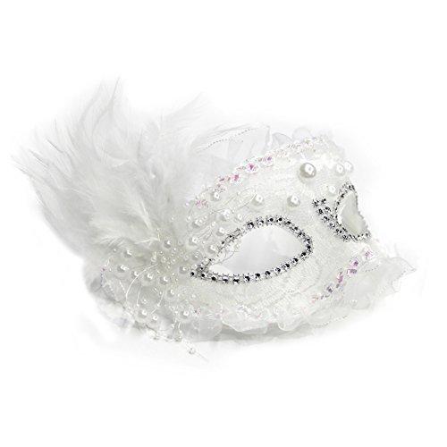 Dreamowl Damen Perle Spitze-Feder-Maske Blumen Karneval-Maskerade venezianischer Masken Kostüm einheitsgröße weiß
