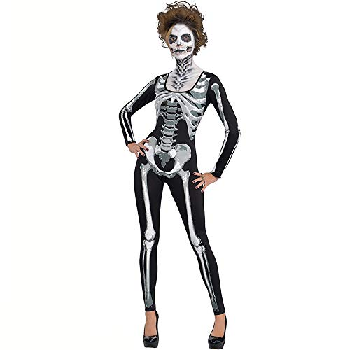 (Gimitunus Komisch Erwachsenes Frauen-Damen-Skeleton Abendkleid-Kostüm-Langes Hülsen-Overall-Halloween-Kostüm (Größe : S))