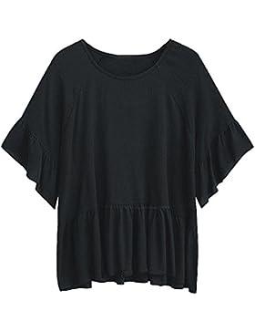 Mujer Blusas Camisetas De Gasa Túnica Manga Corta Cuello Redondo / Negro 2XL