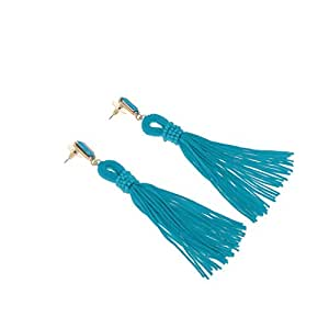 Generic Vintage Fashion Bohemian Fringe Boho Long Tassels Hook Dangle Earrings for Women Blue