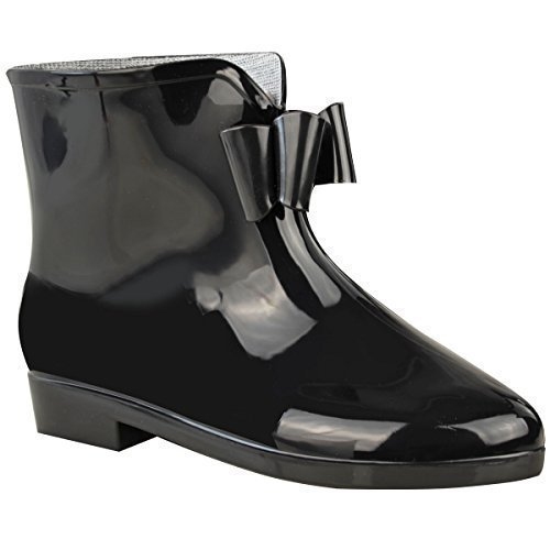 Damen Schwarz Gummistiefel Damen Neu Bow Wellington Knöchel Schnee Regen Stiefel - Schwarz/schwarz, 37