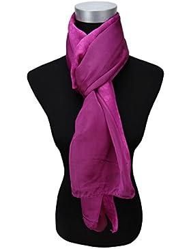 satén gasa bufanda en magenta lila unicolor monocromo - tamaño 160 x 100 cm - pañuelo