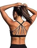icyzone Yoga Sport-BH Damen Bustier mit Gepolstert - Atmungsaktiv Ohne Bügel Sports Bra Top (M, Black)