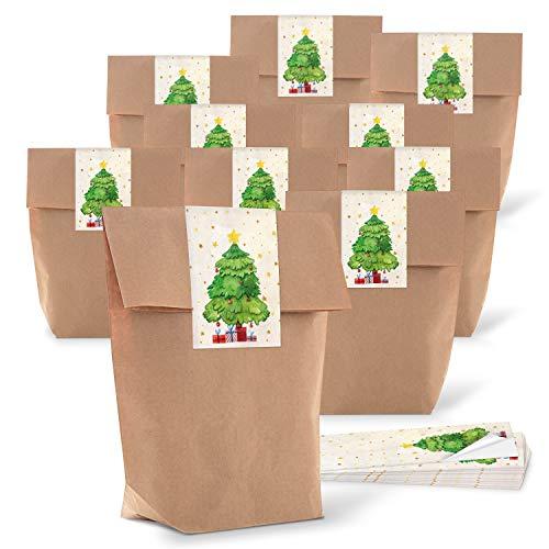 25piccoli sacchetti di carta marrone naturale di Natale 14x 22x 5,6cm + 25lunga adesivi etichette Rosso Verde Beige per albero di Natale Confezione Regalo Bio Carta Kraft Weihnachtlich Vint
