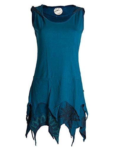 Vishes - Alternative Bekleidung - Zipfelige Elfentunika - im Lagenlook mit Blumen Bedruckt Türkis 38 (Larp Kostüm Plus Größe)