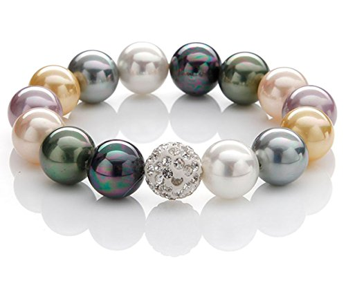 silvity Pearls Armband aus Muschelkernperlen Armband KRISTALL-Bead 1cm 890002-20 Farbe: Bunt