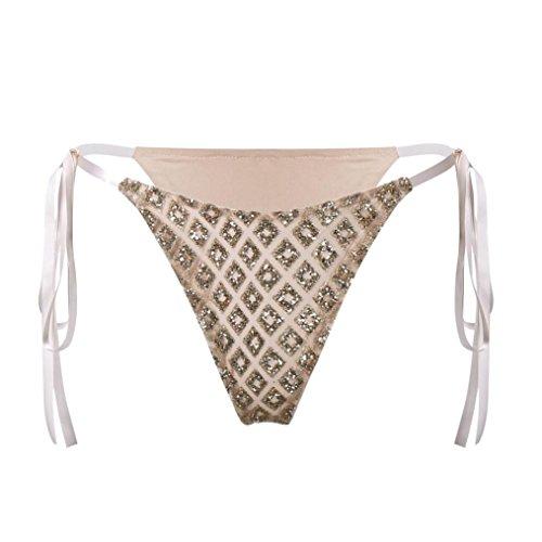 FEITONG bikini string damen Tangas Pailletten G-string Bikinihose Rüschen Brazilian Bikini Slip Höschen Frauen Badeanzug Shorts (XL, Gold) (Gold Pailletten Mädchen Shorts)
