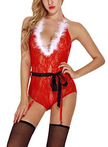 Feoya Weihnachten Frau Pyjama, Dessous Sets- Unterwäsche + String(no Strümpfe) Size XXL
