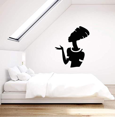 yaonuli Afrikanische Frau Silhouette Vinyl Applique ethnischen Stil Home Interior schwarz afrikanische mädchen wandaufkleber wandbild bedroom45x54cm