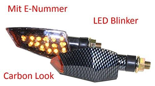 Motorrad Mini Blinker LED JU100 carbon getönt E-geprüft M10 für CPI SM 50 Honda CB 500 600 Italjet Formula Kawasaki KLR KMX 600 650 125 Suzuki DL DR GN GS GSX Yamaha DT XJ XT