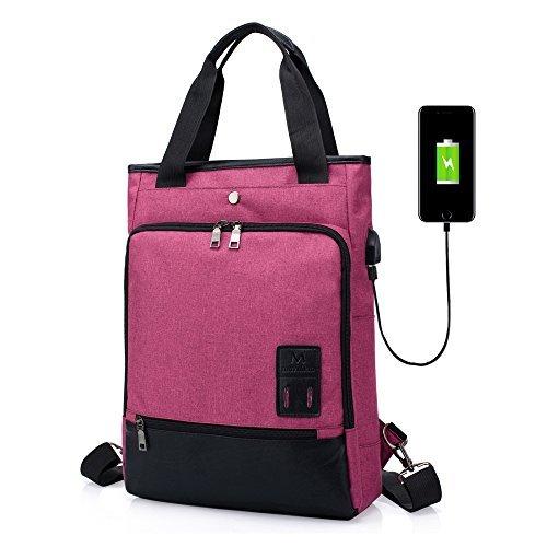 Zaino casual spalla borsetta donne uomo sinokal zaino porta pc impermeabile zaino scuola borsa a tracolla zaino per il daypack sportivo da viaggio con porta di ricarica usb (rosa rossa)