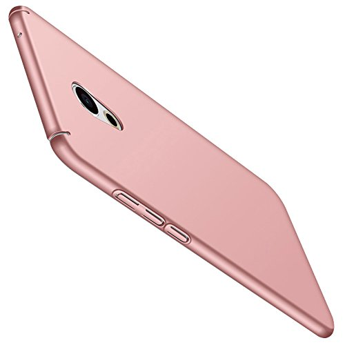 Meizu Pro 6 Plus Hülle + Panzerglas Displayschutzfolie, [Ultra Dünn] [Leicht] Anti-Kratzer Schutzhülle, Anti-Fingerabdruck Hart Plastisch Rückdeckel Cover Case - Rosa