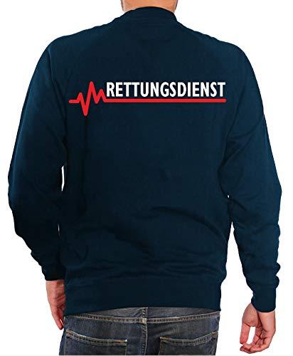 FEUER1 Sweatshirt Navy, Rettungsdienst mit roter EKG-Linie XXL