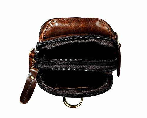 Genda 2Archer Mini Bolsa de Cintura de Cuero Genuino Ganchos Para Cinturones (Café)