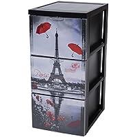 Iris Ohyama 135701SCF-303Torre de almacenaje de 3cajones estilo cómoda, sobre ruedas, de plástico, 39x 29x 61,5cm, plástico, negro, 39x29x61.5 cm