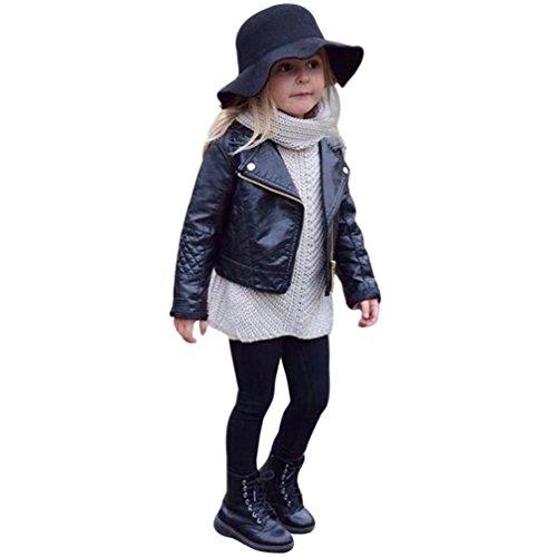 Abrigo acolchado para bebé niña niño , Yannerr Chico Chica invierno Cuero chaqueta sudadera capa ropa outwear gruesa caliente (110)