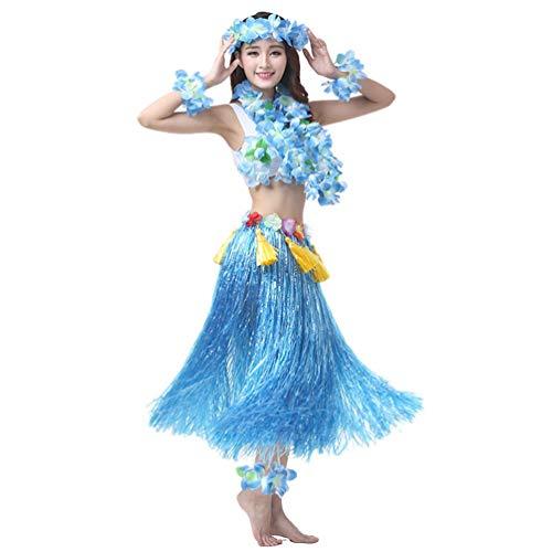 Party Fancy Dress Kostüm - Haobing Strand Party Erwachsene Fancy Dress Kostüm Set Luau Hula Röcke Floral Armbänder, Stirnband, Blumenkette (Blau, 8pcs/Set)