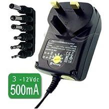 CostMad ® 6 -Way 500 mA máx. CA a CC universal Universelle multi Voltaje 3V / 4.5V / 6V / 7.5V / 9V / 12V Enchufe de red Adaptador de corriente Adaptador de fuente de alimentación de reemplazo