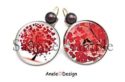 Boucles d'oreille arbre de vie arbre magique oiseau coeurs feuilles arbre amour rouge blanc perle
