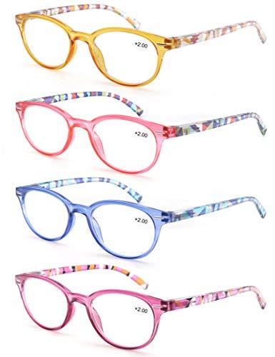 MODFANS (4 Pack) Lesebrille 2.0 Rund Damen,Gute Brillen,Hochwertig,Mode,Komfortabel,Super Lesehilfe,fur Frauen