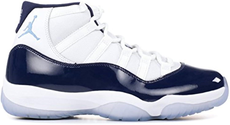 NIKE Air Jordan 11 Retro zapatos de hombre en tela blanca y cuero azul 378037-123