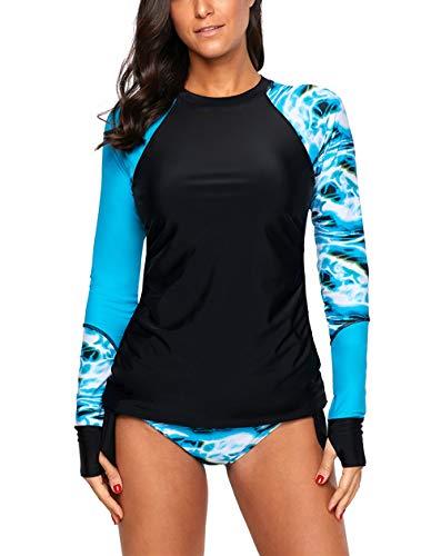 FIYOTE Damen Sportlich Neopren Bikini Badeanzug Langarm Bauchweg Neoprenanzug Gestreift Curvy Bademode für Surfen Tauchen M