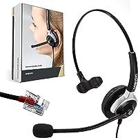 GEQUDIO Auricular con micrófono para Yealink, Snom y Grandstream teléfonos con Conector RJ | 60 g de Peso