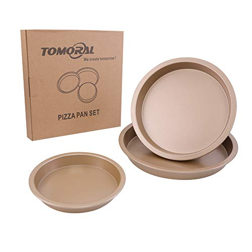 TOMORL Pizza Pan Sets 3Pcs Nonstick Premium Baking Sheets Pans Pizza Round Pans Kitchen Trays - Champagne Gold(6inch 7inch 8inch)