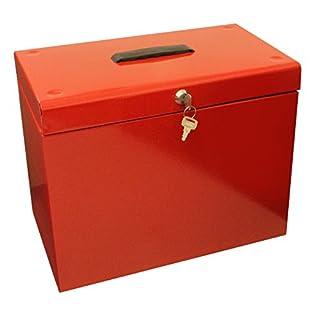 Ablagebox / Hängemappenbox (aus Metall, A4) rot