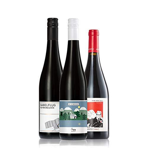GEILE WEINE Weinpaket Rotwein trocken klein (3 x 0,75l) Bester Rotwein aus Deutschland und Portugal...