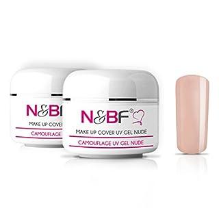 N&BF Make-Up Gel Camouflage UV-Gel Cover-Gel für Nägel 2er Set Nagelgel für Babyboomer und French Natur Hellrosa/Light Rose milchig deckend mittelviskos 2x30ml (60ml, Hellrosa)