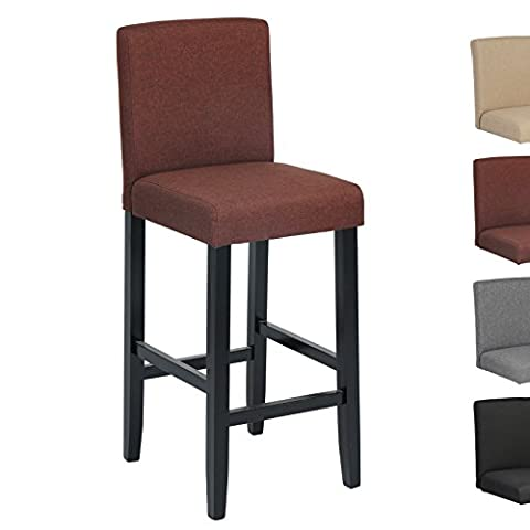 Woltu BH64br-1 1x Linen Wood Bar Stool with Brown Seat Wooden Bar Stool Wood Chair with High Back luxury Padded Seat
