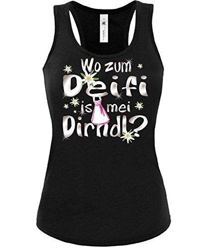 love-all-my-shirts Wo zum deifi is MEI Dirnd 1280 Oktoberfest Outfit Artikel Kostüm Tshirt verkleidung Wiesn Frauen Damen Tank Top Schwarz L (Oktoberfest Kostüm Frauen)