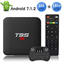 TV Box Android 7.1 TV Box con Wireless Mini tastiera/ 2GB RAM 16GB ROM/S905W Quad-core cortex-A53/ Video 4K UHD H.265/3D/2.4GHz WiFi T95 S1 Smart TV Box