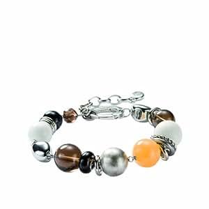 FOSSIL  JF85349040 Damen Armband Big Beads Rauchquarz Achat weiß Jade Holz 20 cm + 4 cm Verlängerung