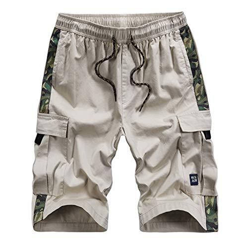 m Freien Taschen Hosen Arbeitshosen Strand Baggy Shorts Hose Elastische Taille Sommer Shorts,Beige,EU:XXL(Tag:5XL) ()