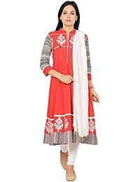 Rama Red Color Embroidered Long Anarkali Kurta With Legging & Dupatta Set